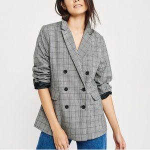 A&F Grey Plaid Blazer